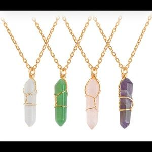 Jewelry - Hexagonal Prism Natural Stone Pendant Necklace